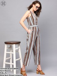 Wrap Neck Striped Jumpsuit