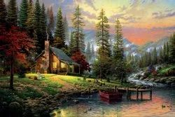 Natural Paintings Canvas Print of Landscape Art Home in The Nature - Frameless, 36x24 Inch