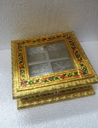Golden Meenakari Dry Fruit Box