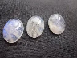 White Rainbow Moonstone Oval Shape Calibrated Cabochons Loose Gemstone