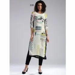 Trendy Casual Wear Digital Printed Crepe Kurti