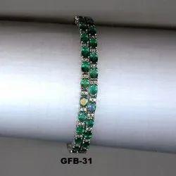 Green Real Fine White Gold Bangle
