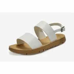 White Women Open Toe Flat Sandal, Size: 8 To 13