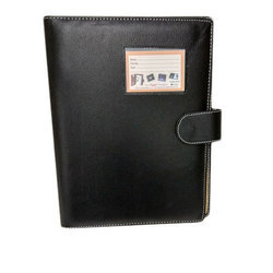 Black Leatherette A4 Magnetic Lock Conference File Folder, For Office, Packaging Type: Box Packing