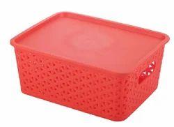 Plastic Storage Basket With Lid