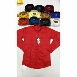 Collar Neck Long Sleeve Mens Plain Casual Shirt