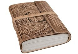 Handmade Antique Looking Flower Embossed Leather Journal