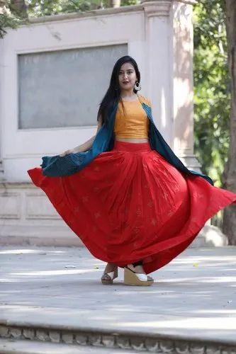 Long Partywear Dress With Skirt Crop Top & Shrug