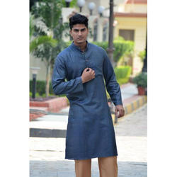 Plain Teal Full Sleeves In Khadi Silk Colored Kurta