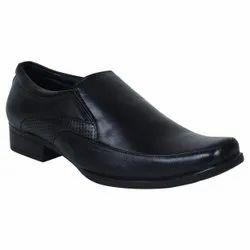 Men Black Genuine Leather Shoes, Airmix