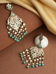 Gold-Toned Sea Green And White Contemporary Beaded Drop Earrings