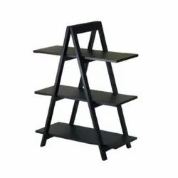 Black Free Standing Unit Wooden Shoe Display Rack, For Showroom And Malls, Size: 5.5 Feet