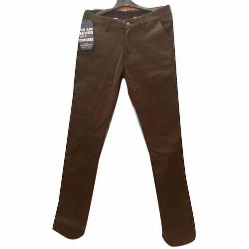 Cotton Plain Men' s Brown Trouser, Size: Xl