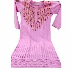 Casual Wear Straight Ladies Fancy Cotton Kurti, Wash Care: Machine Wash, Hand Wash