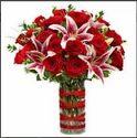 Red Rose & Lily Arrangement