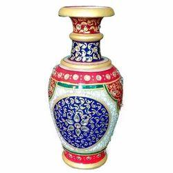 Round Meenakari Marble Flower Vase
