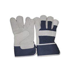 Gray Cotton Canadian Leather Hand Gloves, Size: Small