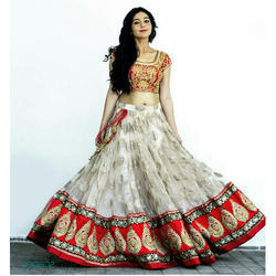 Party Wear, Wedding Wear Red, Cream Fancy Lehenga Choli