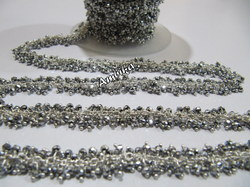 Pyrite Silver Plated Hydro Quartz Dangling Chain
