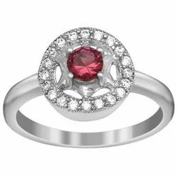925 Sterling Silver 4 MM Round Pink Cubic Zircon Halo Round Ring