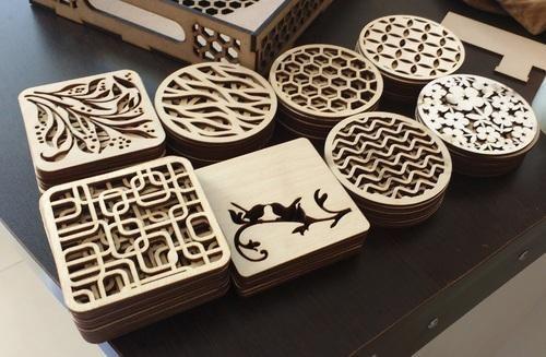 Laser Cut And Engraved Wooden Tea Coasters Lakdi Ki Tikli