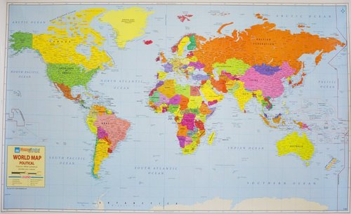 Multicolor World Political Map On Art Paper Wall Chart Size 51 70