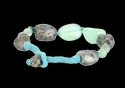 A/ Silver Aluminium With Turquoise Stone & Thread Work Bracelet
