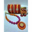 Pink Ladies Thread Jewellery Set