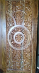 Carved Wood Ivory Teak Door