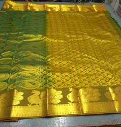 Green Silk Bridal Saree, Hand Made , 6.3 M (with Blouse Piece)