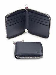Male Black, White Bifold Leather Zip Wallet