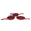 Wonderchef Royal Velvet Plus Induction Base Cookware Set, 4-Pieces, Red