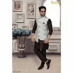 Party Wear Mens Silk Kurta Pajama and Nehru Jacket Set