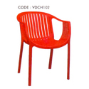 Varmora Red Plastic Plain Ola Chair With Fixed Arm, Dimensions: 610 X 545 X 765 Mm