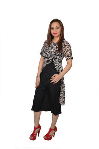 95debdec4f Printed Cotton Black Knee Length Dress With Jacket, Rs 900 /piece ...