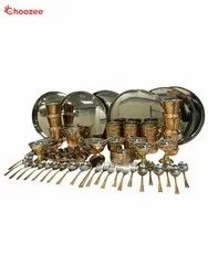 Copper / Stainless Steel Thali Set with Serving Items (82 Pcs) for 6 People