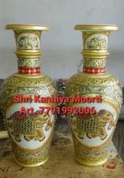 Gold Work Golden White marble flowers pots