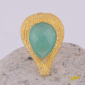 Indian Handmade Gemstone Gold Plated Adjustable Ring