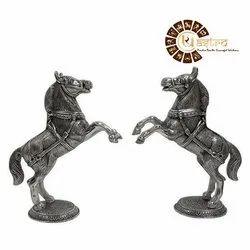 Silver Aluminium Lucky White Metal Horse Idol for Interior Decor