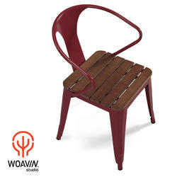 WOAVIN INDUSTRIAL , COMMERCIAL, RESTAURANT, CAFE, HOTEL, BISTRO TOLIX STACK ABLE ARMCHAIR WOODEN TOP
