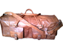 Four Pockets Square Leather Duffel Travel Bag