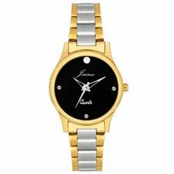 Jainx Black Dial Two Tone Round Analog Watch For Women - JW1202