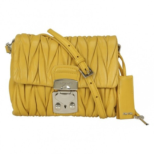 4df7b9a2dc8 MIU Matelasse Leather Shoulder Bag Yellow