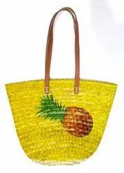 Straw Printed Pineapple Beach Basket Bag