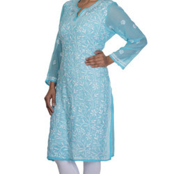 Regular Wear Cotton Long Embroidery Work Chikan Kurtis