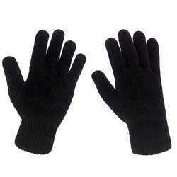 Black Knitted Hand Gloves