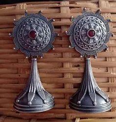 17 gm Silver Look Alike Brass Earrings