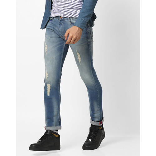 Cotton Valbone Mens Mid Washed Low Rise Jeans