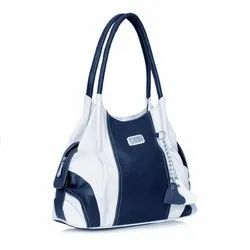 Blue And White Synthetic Ladies Designer Hand Bag