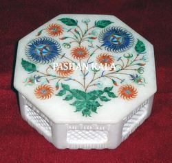 Marble Inlay Octagonal Lattice Box